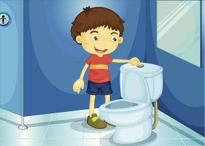 Kid Flushing Toilet